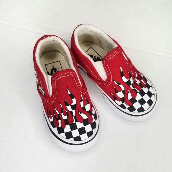 Vans checkerboard flame slip on shoes toddler 5